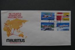 ILE MAURICE - MAURITIUS - 1977 - FDC 436/439 - AIR MAURITIUS INTERNATIONAL INAUGURAL FLIGHT - Mauritius (1968-...)