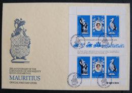 ILE MAURICE - MAURITIUS - 1978 - FDC 469 / 471 - 25è ANNI COURONNEMENT ELIZABETH II (BLOC) - Mauritius (1968-...)