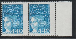YT 3095 ** 4,40F Bleu Marianne De Luquet, Paire Avec Bdf, Piquage Très Décalé - Errors & Oddities