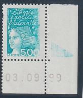 YT 3097 ** 5,00F Marianne De Luquet, 1 TP Avec Cdf Daté 03.09.99, Impression à Sec De La Partie Droite Du Timbre Et RE Q - Variétés Et Curiosités