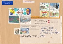 FINNLAND 1994 - 10 Fach Frankierung Auf R-Brief Gel.v. Helsinki N. Hanshagen BRD - Finnland