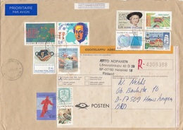FINNLAND 1993 - 11 Fach Frankierung Auf R-Brief Gel.v. Helsinki N. Hanshagen BRD - Finnland