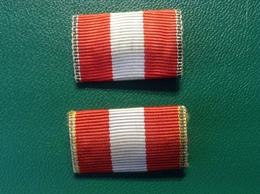 Bandspangen Rot Weiß Gold Bronze An Nadel - Abzeichen & Ordensbänder