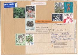 FINNLAND 1994 - 9 Fach Frankierung Auf R-Brief Gel.v. Helsinki N. Hanshagen BRD - Finnland