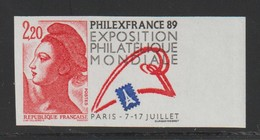 YT 2524a ** 2,20F Liberté Philexfrance 89 Grand Format, Non Denté, Bdf - 1982-90 Liberté De Gandon
