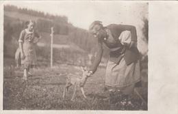 JUNGE FRAU UND MÄDCHEN MIT REHKITZ - Fotokarte Um 1930 - Tierwelt & Fauna
