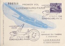 C CP Du 1° Vol Luxembourg-Paris Le 2.2.48 Sur 4f (PA 10) + Cachet Paris-aviation - Aéreos
