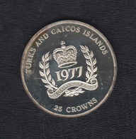 AÑO 1977. 25 CROWNS PLATA ISABEL II - Turks & Caicos (Inseln)