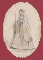9AL702 CANIVET IMAGE PIEUSE ANCIENNE Dentelles HOLY CARDS Communiante Manque - Devotion Images