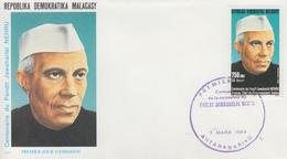 Enveloppe  FDC  1er  Jour   MADAGASCAR   Centenaire  De  La  Naissance  De   Pandit  Jawaharlal   NEHRU   1989 - Madagascar (1960-...)