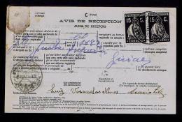 Portugal  GUIÃES RARE AVISO DE RECEPÇÃO Stamped ( Ceres 15c.x2 Black ) Mod.nº95 VILA REAL 1929 SERVICE DES POSTES Gc1432 - Non Classés