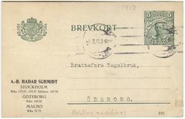 1919 5 Ore Gustav V Repique Calculator Rekenmachine Machin A Calculer Rechenmacjine Ellis Sundstrand - Entiers Postaux