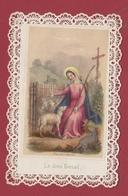 9AL706 CANIVET IMAGE PIEUSE ANCIENNE Dentelles HOLY CARDS Le Divin Bercail - Devotieprenten
