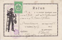 CROATIA  --  VARAZDIN  --  FACTURE, INVOICE  ~  1934 - --  DIMNJACAR, MONEUR, CHIMNEY SWEEP - Ohne Zuordnung