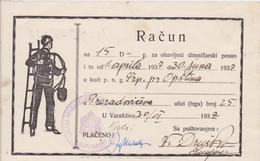 CROATIA  --  VARAZDIN  --  FACTURE, INVOICE  ~  1937 - --  DIMNJACAR, MONEUR, CHIMNEY SWEEP - Fatture & Documenti Commerciali