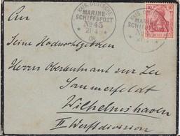 DR Brief EF Minr.86I K1 Kais. Dt. Marine-Schiffspopst Nr.45  21.4.08 - Deutschland