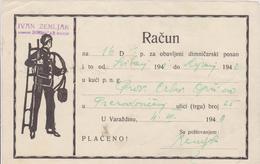 CROATIA  --  VARAZDIN  --  FACTURE, INVOICE  ~  1940 -  IVAN ZEMLJAK,  DIMNJACAR, MONEUR, CHIMNEY SWEEP - Ohne Zuordnung