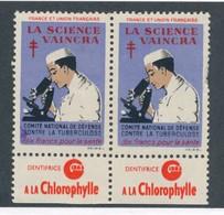 FRANCE - 2 VIGNETTES DENTIFRICE A LA CHLOROPHYLLE - Erinnophilie