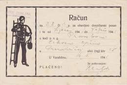 CROATIA  --  VARAZDIN  --  FACTURE, INVOICE  ~  1941 -  IVAN ZEMLJAK,  DIMNJACAR, MONEUR, CHIMNEY SWEEP - Ohne Zuordnung