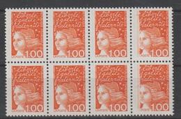 YT 3089 ** 1,00F Orange Marianne De Luquet, Bloc De 8 TP Avec Défaut D'impression Sur 2 Ex, SUP - Variétés Et Curiosités