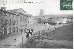 CHAMPOLY VUE GENERALE ANIMEE 1908 EDITEUR PAPETERIE BEAU A SAINT JUST EN CHEVALET TRES BON ETAT - Other Municipalities