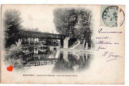 34337-ZE-59-MARCOING-Canal De St-Quentin-Pont Du Chemin De Fer------------péniche - Marcoing