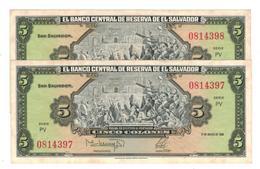 El Salvador 5 Colones 1988, X 2 Consec. AUNC. - El Salvador