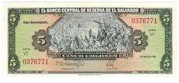 El Salvador 5 Colones 1988, UNC. - Salvador