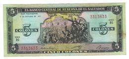 El Salvador 5 Colones 1977, VF+. - El Salvador