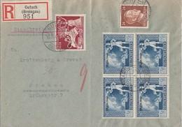 DR R-Brief Mif Minr.792,816, 4x 823  4er Block Gutach 16.11.42 - Briefe U. Dokumente