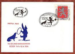 Illustrierter Umschlag Dompteur, EF Wappenloewe, SoSt Postfila Susice 1994 (71460) - Tschechische Republik