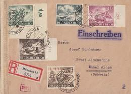 DR R-Brief Mif Minr.831,832,833 OER,841,842 München 13.1.44 Gel. In Schweiz Zensur - Briefe U. Dokumente