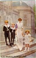 SUA MAESTÀ REGINA ELISABETTA DEL BELGIO E Figli Leopoldo Carlo Teodoro Maria José - Case Reali