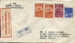 "BRESIL LIGNE MERMOZ LETTRE "" PRIMEIRA MALA AEREA TRANSATLANTICA BRASIL-EUROPA ""  DEPART NATAL 8 JUIN 1930 POUR LA FRANCE - Aéreo"
