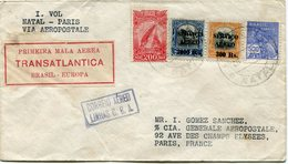 "BRESIL LIGNE MERMOZ LETTRE "" PRIMEIRA MALA AEREA TRANSATLANTICA BRASIL-EUROPA ""  DEPART NATAL 8 JUIN 1930 POUR LA FRANCE - Poste Aérienne"