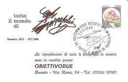 ITALIA - 1986 BUSSETO (PR) Mostra Sul Mondo Di GUARESCHI - Firma Del Giornalista-scrittore Su Cartolina Speciale - Escritores