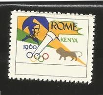 O) 1960 KENYA, OLYMPIC GAMES- LION-SOLDIER-CINDERELLA, XF - Kenya (1963-...)