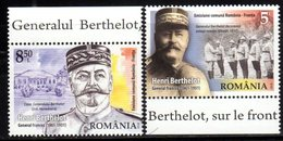 ROMANIA, 2018, MNH, WWI, JOINT ISSUE WITH FRANCE, GENERAL BERTHELOT, SOLDIERS, MILITARY, 2v - WW1