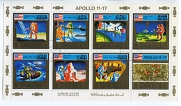 APOLLO 11 - 17. AJMAN YEAR 1973 MICHEL 2669A / 2676A OBLITERES COMPLETE SERIES FEUILLET -LILHU - Asia