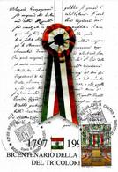ITALIA - 1997 REGGIO EMILIA Bicentenario Del Tricolore Ann. Fdc Su Cartolina Speciale Da Cui Ricava Una Coccarda - Buste