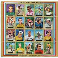 TOUR DE FRANCE CICLISMOS CYCLING CYCLISME. AJMAN YEAR 1972 MICHEL 1351 - 1370 OBLITERES COMPLETE SERIES FEUILLET -LILHU - Adschman