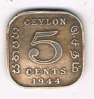 5 CENTS 1944 CEYLON SRI LANKA /2785/ - Sri Lanka