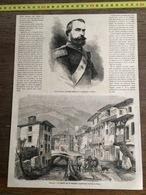 1866 GRAVURE LA GRANDE RUE DE CHATELDON IGNACIO PRADO PRESIDENT PEROU - Old Paper