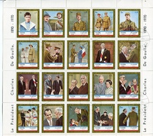 LE PRESIDENT CHARLES DE GAULLE 1890 - 1970. FUJEIRA YEAR 1972 MICHEL 936 - 955 OBLITERES COMPLETE SERIES FEUILLET -LILHU - Celebridades