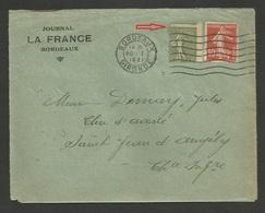 Lettre / Piquage Fortement Décalé / N° 130 / Donnant 5c Au Lieu De 15c - 1903-60 Semeuse Lignée