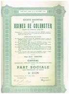 Ancien Titre - Société Anonyme DesUsines De Colonster - Titre De 1948 - Industrial
