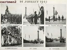 LIBERATION PARIS 14 JUIILLET 1945 GUERRE 40 DEFILE CHAMPS-ELYSEES TANK CHAR PHOTOMONTAGE PLANCHE DE CONTACT - War, Military