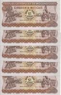 MOZAMBIQUE 50 METICAIS 1986 UNC P 129 B ( 5 Billets ) - Mozambique