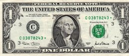 USA= PHILADELPHIA    2001   1  DOLLAR   STAR  NOTE  VF/X FINE - Federal Reserve Notes (1928-...)