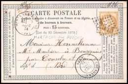 8760 LAC N 55 Ceres 15c GC 2545 Mortagne-sur-Huine Orne 1874 France Precurseur Carte Postale (postcard) - Entiers Postaux